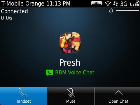 Screenshot of BBM Voice Chat Test-Call between I and a willing friend.