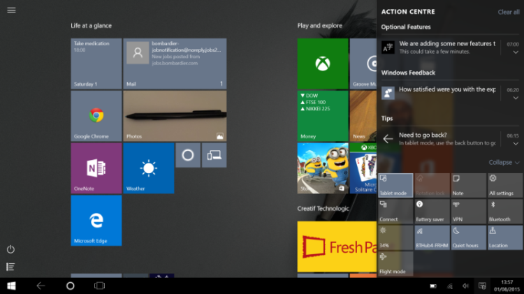 Accessing the notification pane in Windows 10 is fairly straightforward