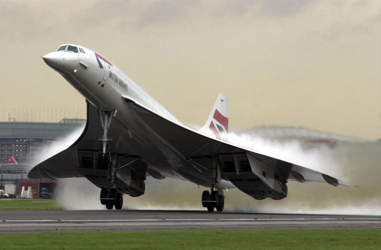 The original Concorde takes off from Heathrow